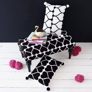 Embroidered Hearts Rectangular Cushion - 50cm; White on Black