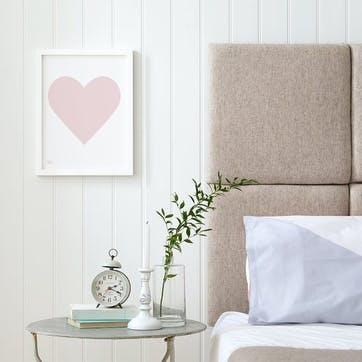 Love Heart Print; Pink Blush on White