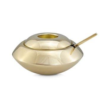 Form Sugar Bowl & Spoon; Brass