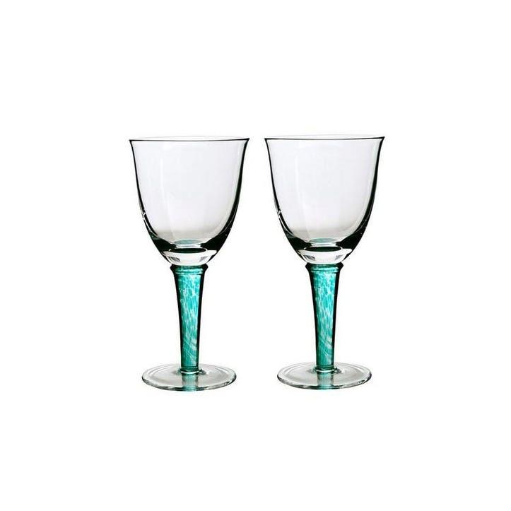 Greenwich Set of 2 White Wine Glasses, 200ml, Green