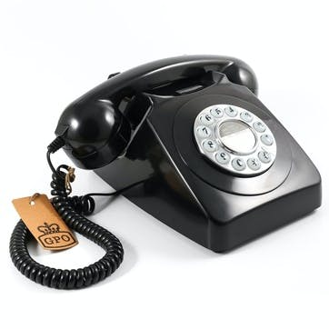 746 Push Button Telephone; Black