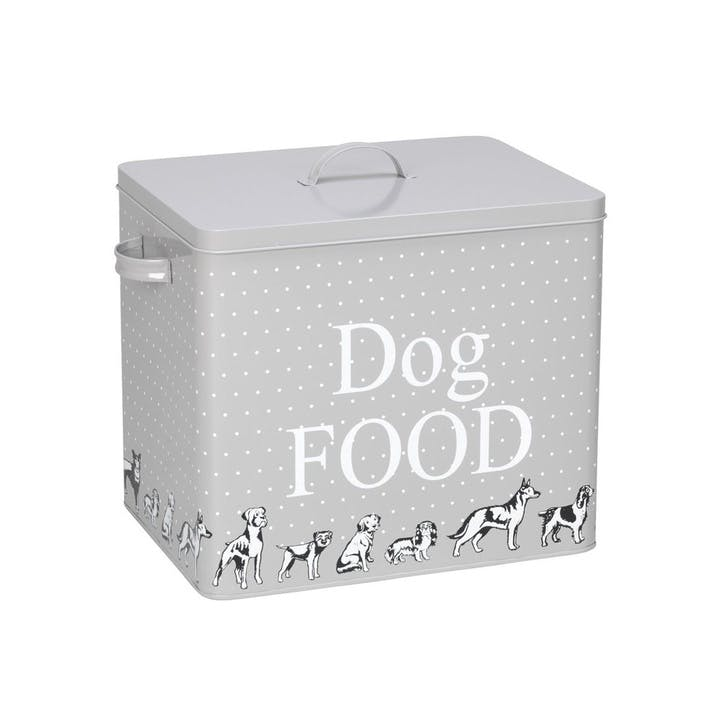 House Of Paws Polka Dogs Treat Tin With Scoop - Large; Grey