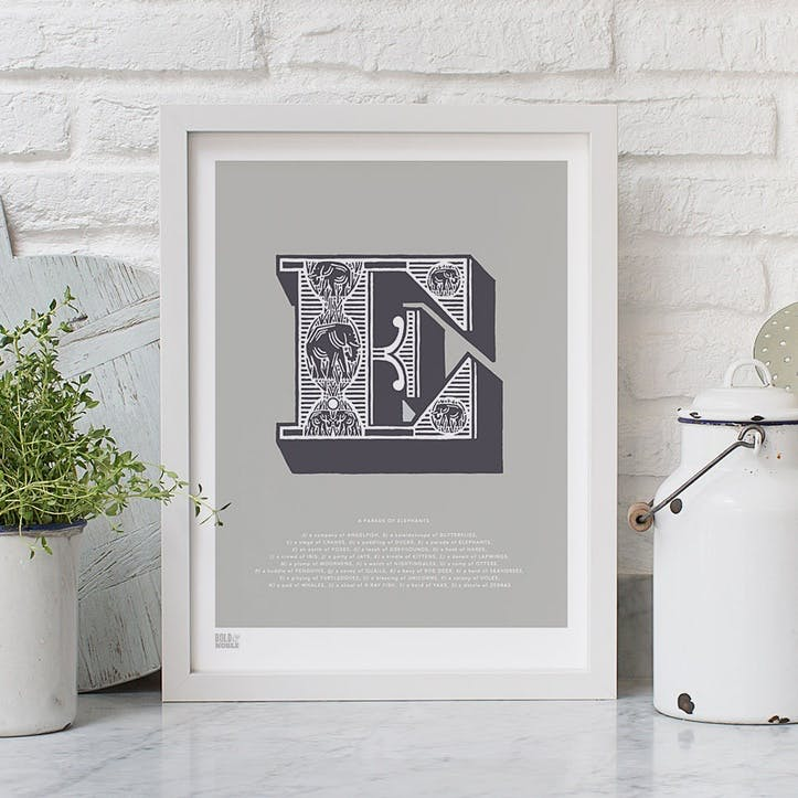 Illustrated Letter E Screen Print, 30cm x 40cm, Putty