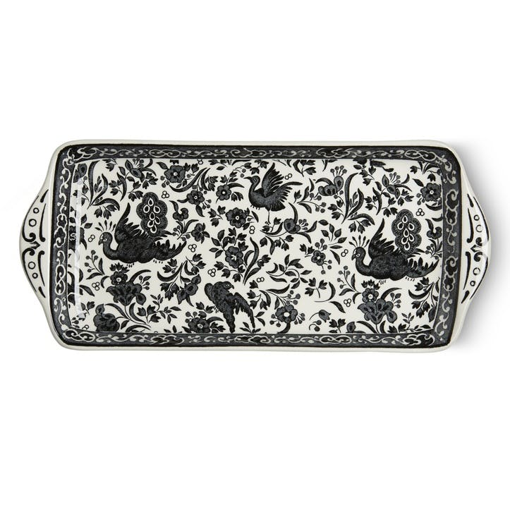 Black Regal Peacock Rectangular Tray, 28cm