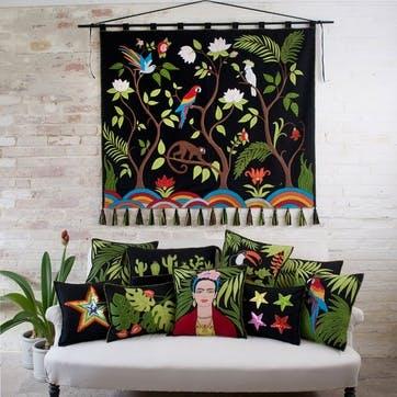 Tropical Palm Cushion, 46 x 46cm, Black
