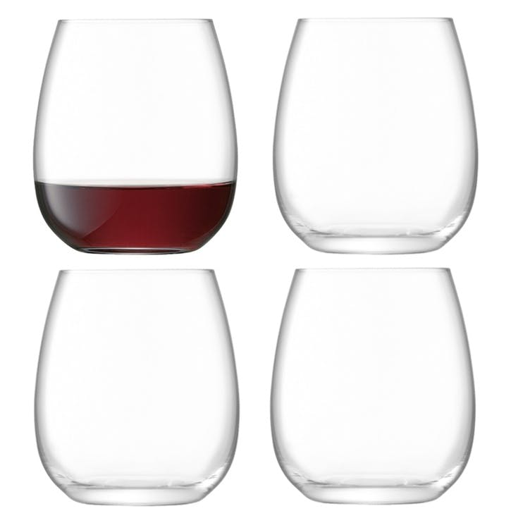 Borough Stemless Wine Glass, Set of 4, 455ml