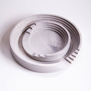 Scala Round Tray Set, White Marble