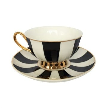 Stripy Tea Cup & Saucer, Black, Gift Boxed
