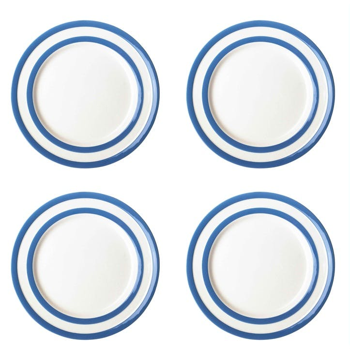 Set of 4 Breakfast Plates, 24cm, Blue