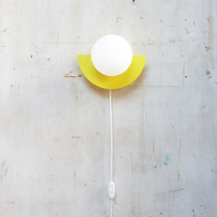 C, Plug in Wall Lamp, H28 x W22 x D20cm, Yellow