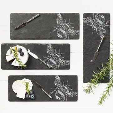 Bee Mini Cheese Board & Knife, Set of 4