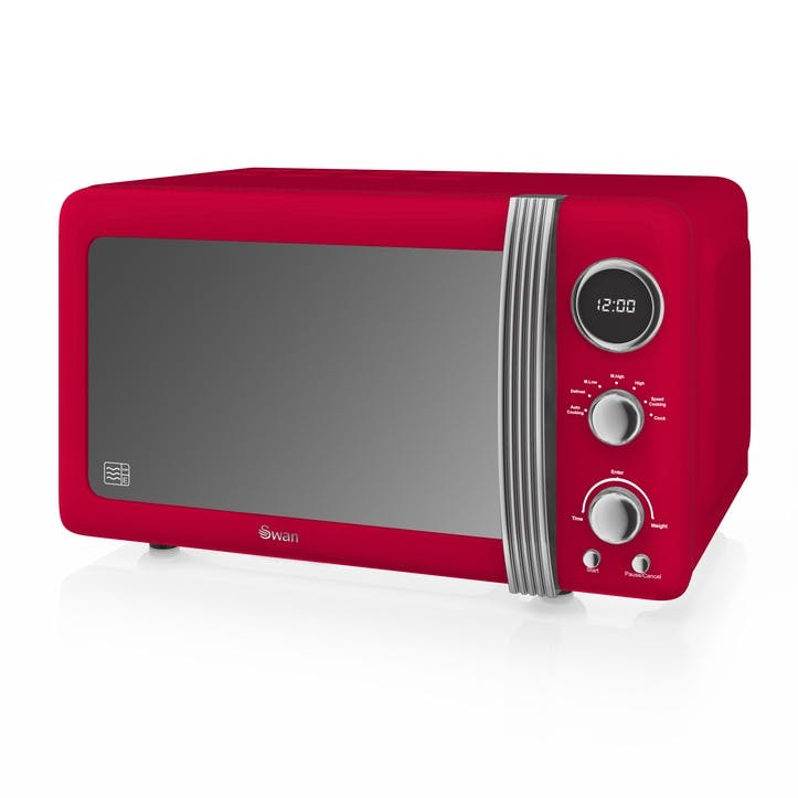 Retro 800W Digital Microwave, Red