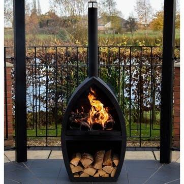 Poole, Outdoor Fireplace, Black