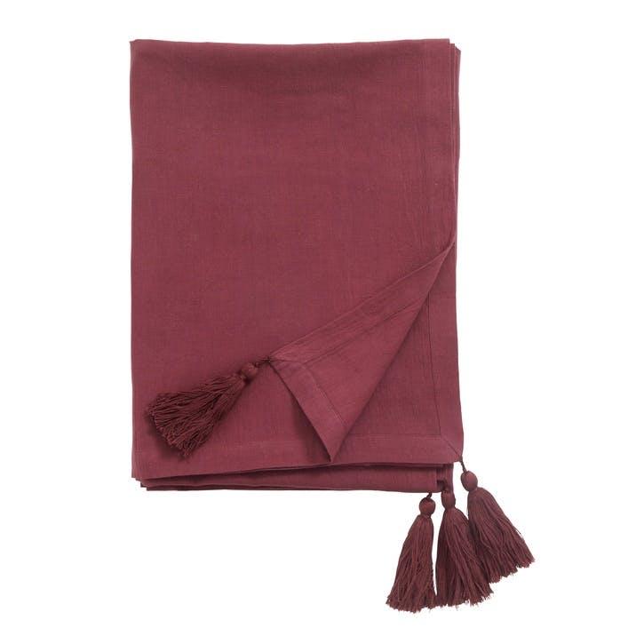 Maroon Tasselled Table Cloth