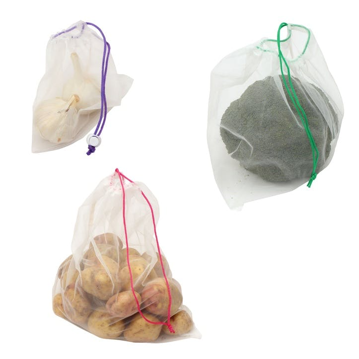 Reusable Drawstring Fruit & Vegetable Bags, Set of 5