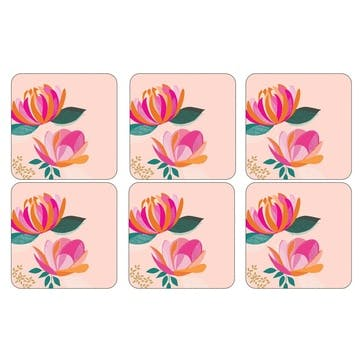 Peony Collection Coasters, Set of 6, Pink