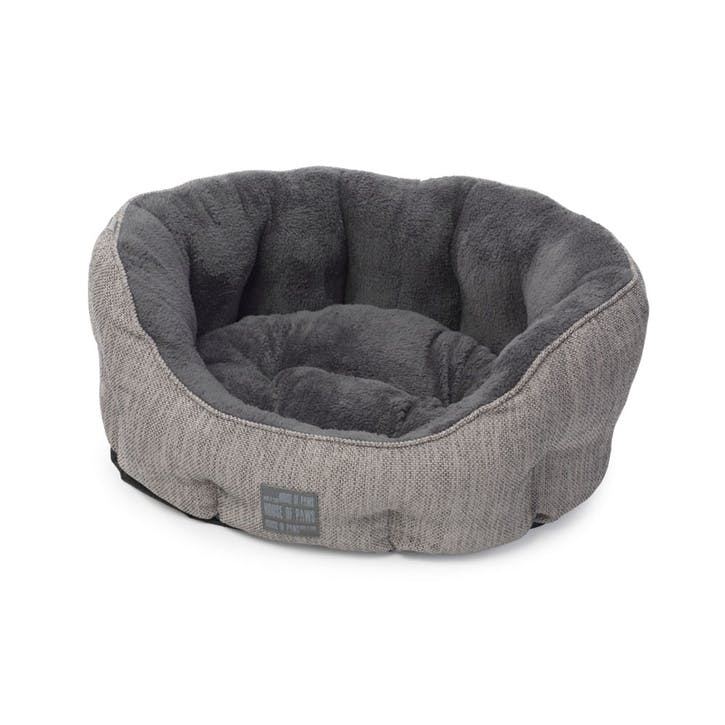 Grey Hessian Oval Snuggle Bed, Small