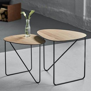 Curve Coffee Table, Medium, Oak/ Steel Black