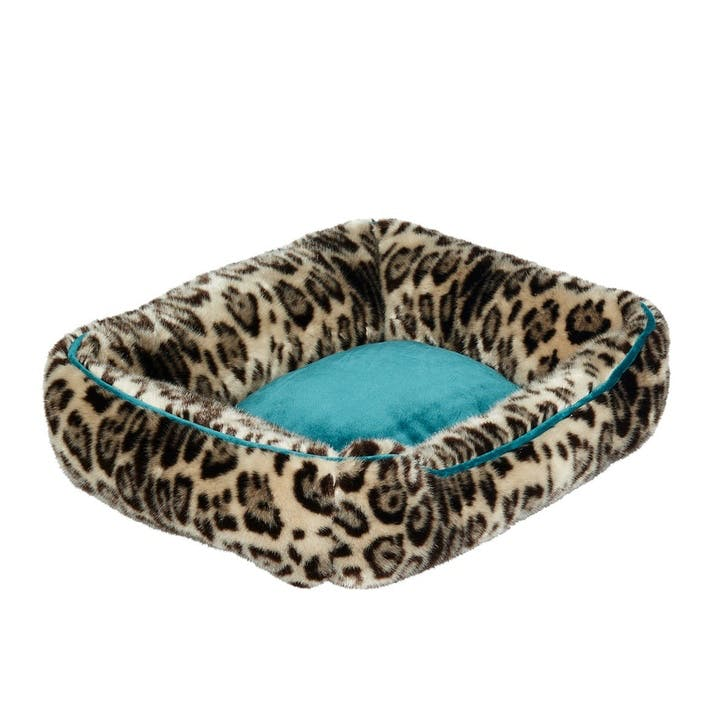 Leopard Faux Fur Pet Bed, Small