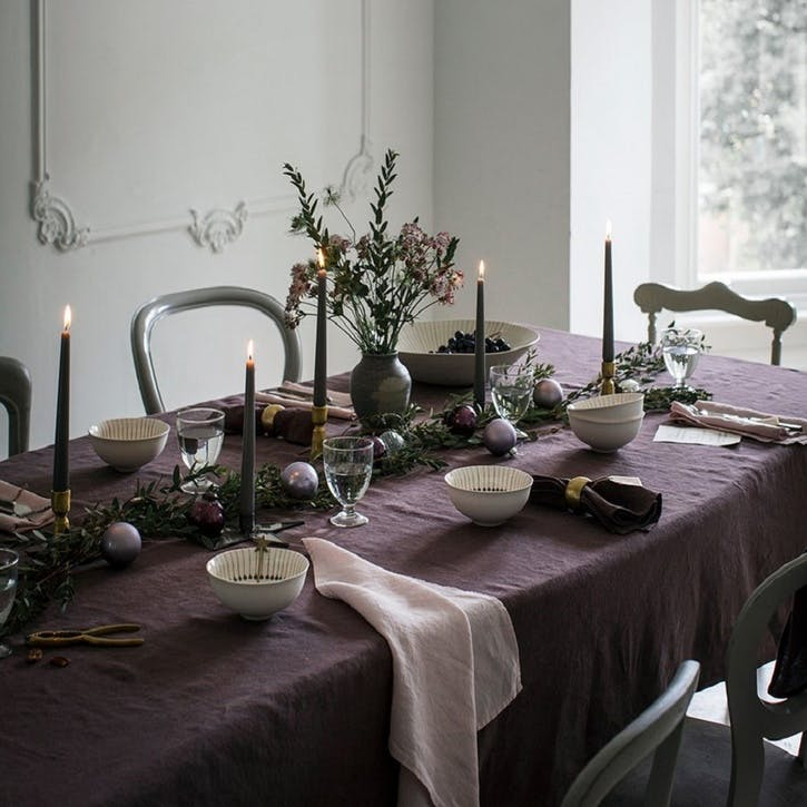 Mitered Hem Tablecloth, Aubergine 160 x 375cms