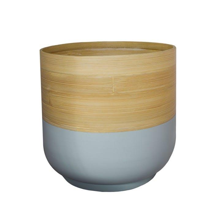 Bamboo Planter H20cm, Grey