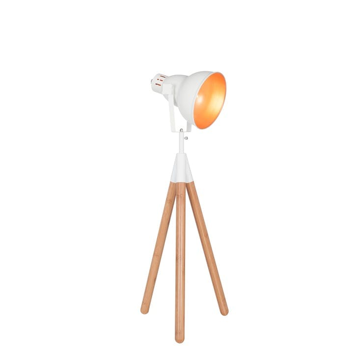 Larkin Tripod Table Lamp; White & Copper