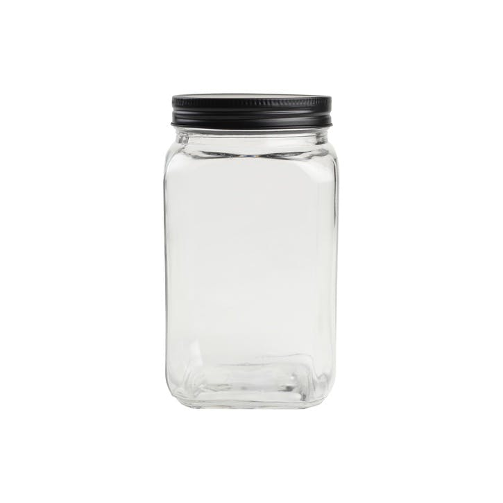 Tall Square Glass Jar With Black Lid