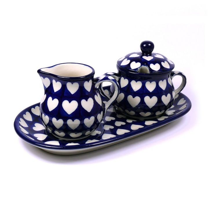 Hearts Sugar Bowl and Creamer Set 0.2L