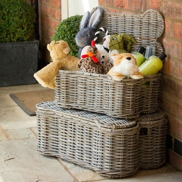 Rattan Kubu Dog Bone Lidded Storage Basket, S