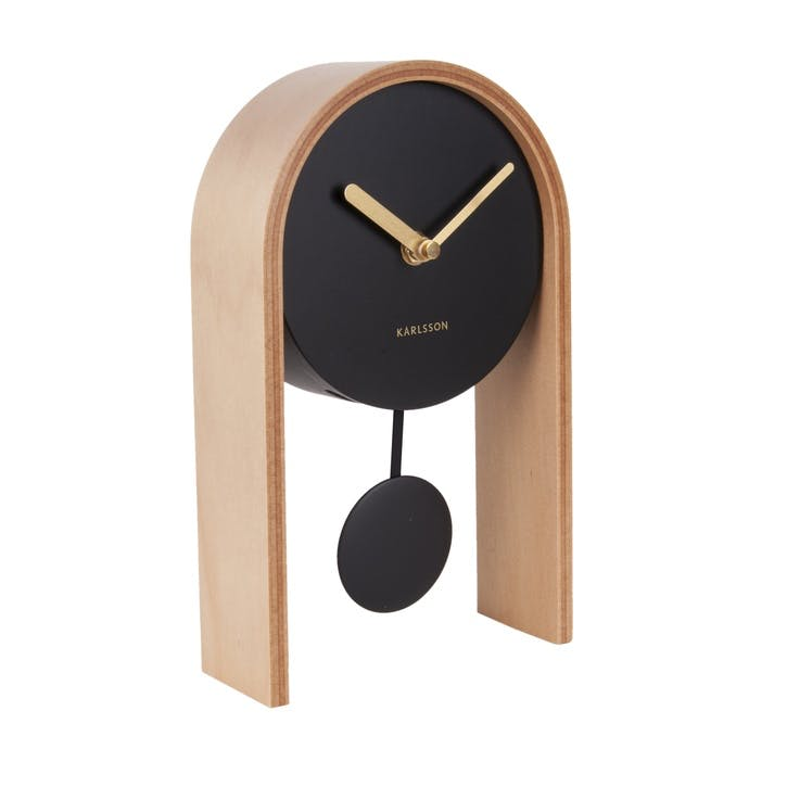 Smart Pendulum Table Clock, Light Wood