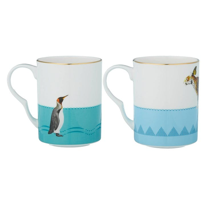 Colourful Cheetah & Penguin Mugs, Set of 2