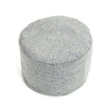 Tweed Pouffe; Silver Grey