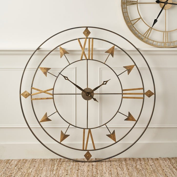 Large Metal Skeleton Arrow Clock, Antique Grey & Gold