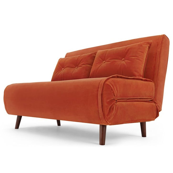 Haru Sofa Bed - Double; Flame Orange Velvet