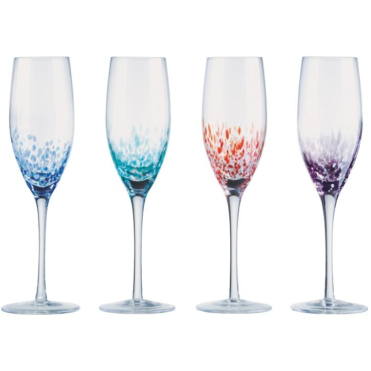Speckle Champagne Flutes, Set of 4