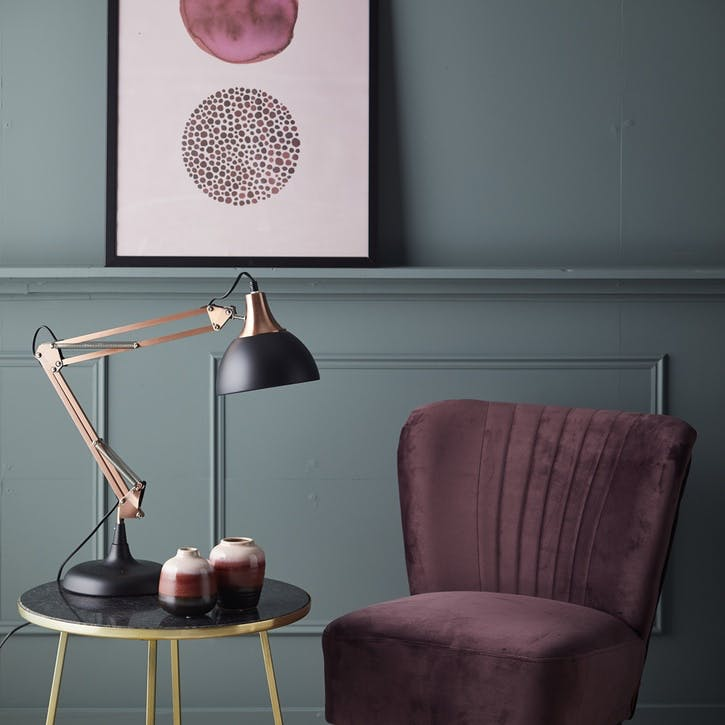 Modern Rustic Angled Lamp, Black & Copper