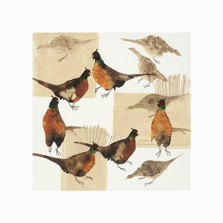 Julia Burns Pheasants Canvas Print - 60 x 60cm