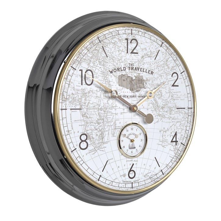 Campbell World Traveller Clock, 51cm, Grey