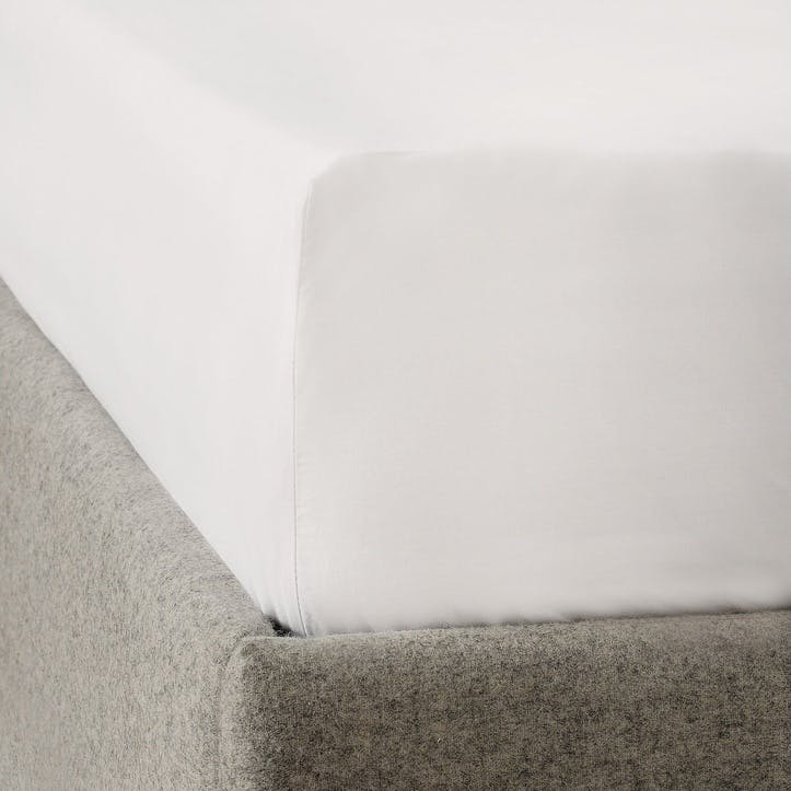 Savoy Fitted Sheet, Double, White