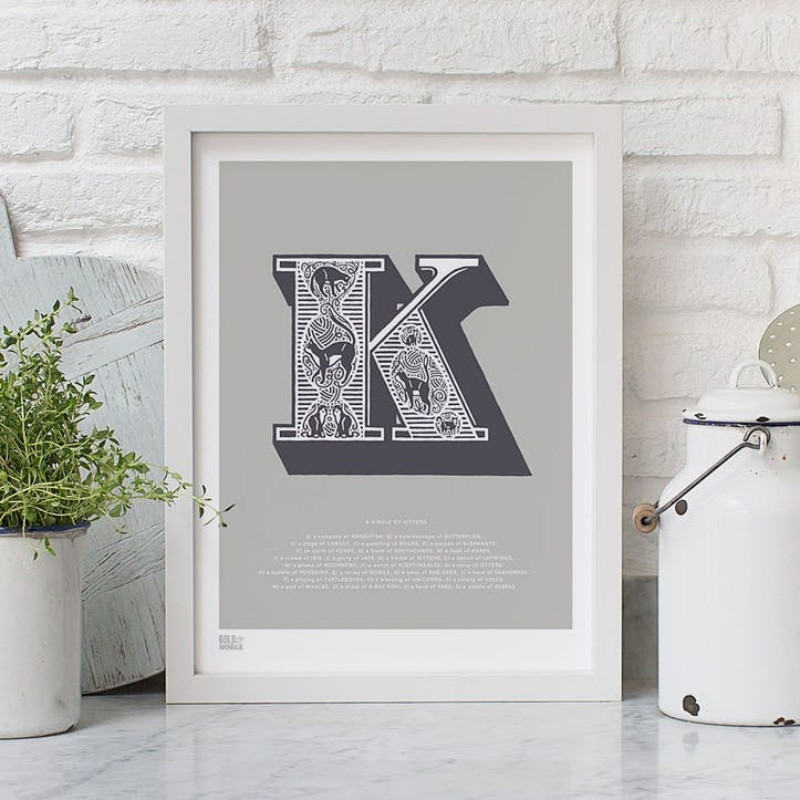 Illustrated Letter K Screen Print, 30cm x 40cm, Putty
