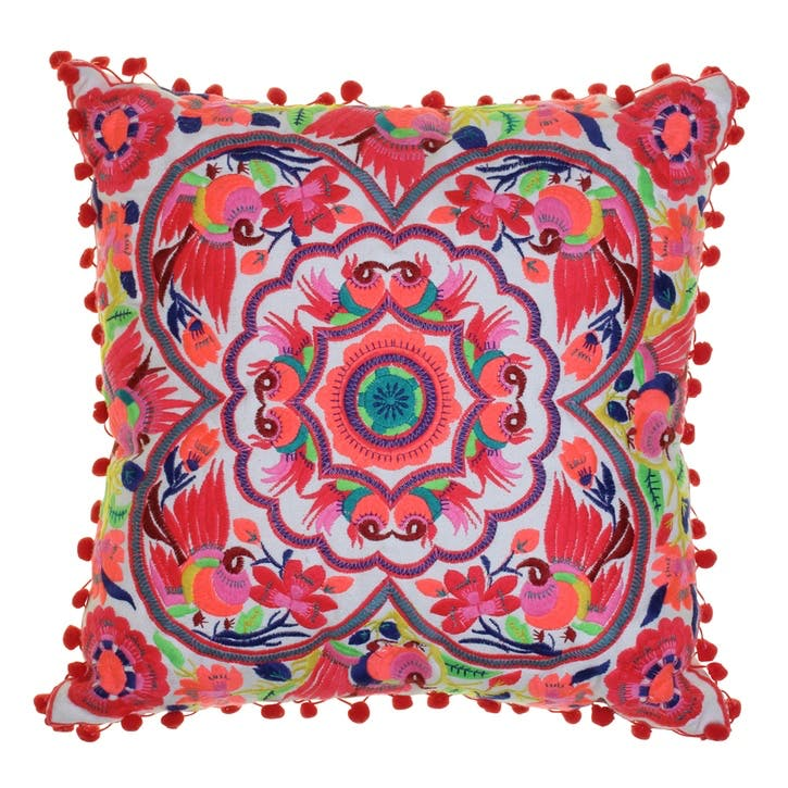 Acapulco Embroidered Cushion, 40cm, Coral