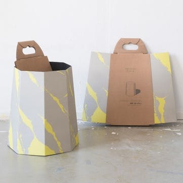 Chimney, Paperbin, H35 x D32cm, Yellow/Grey