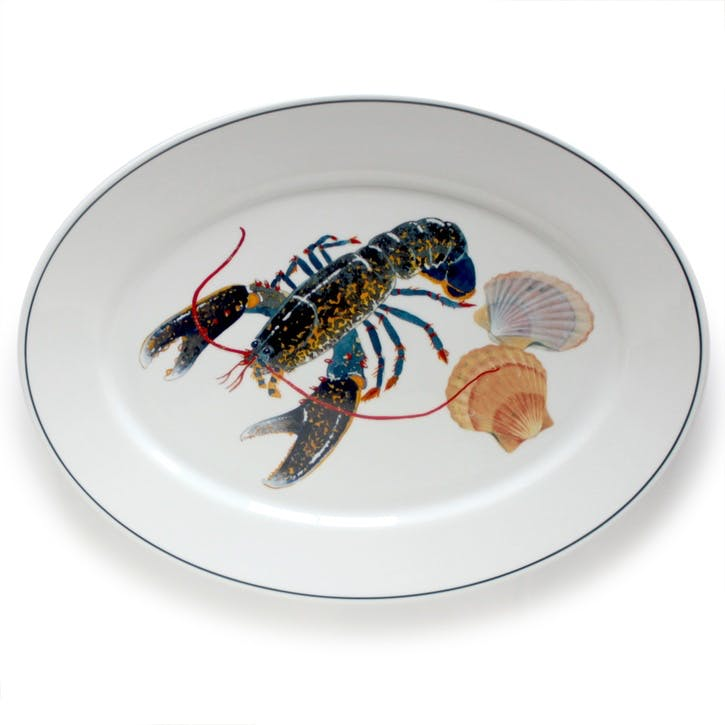 Seaflower Blue Lobster Oval Platter, 42cm, Blue