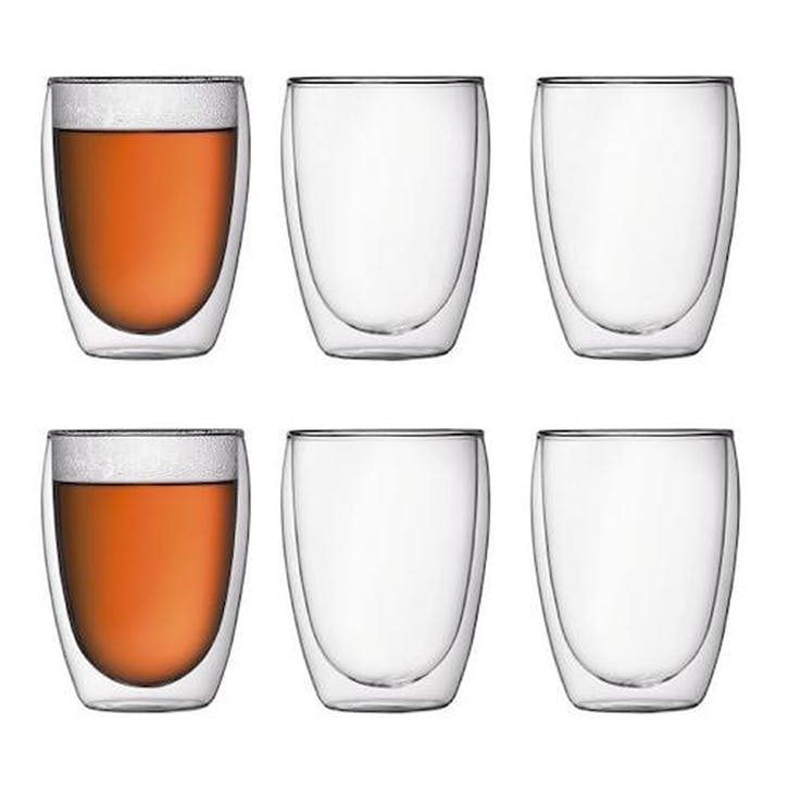 Pavina, Medium Double Wall Glasses, Set Of 6, 350ml, Transparent