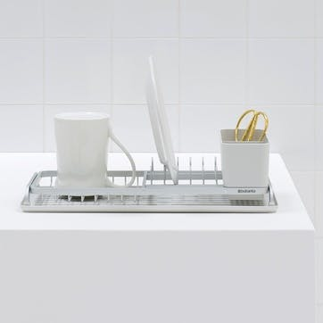Compact Dish Drying Rack, Light Grey