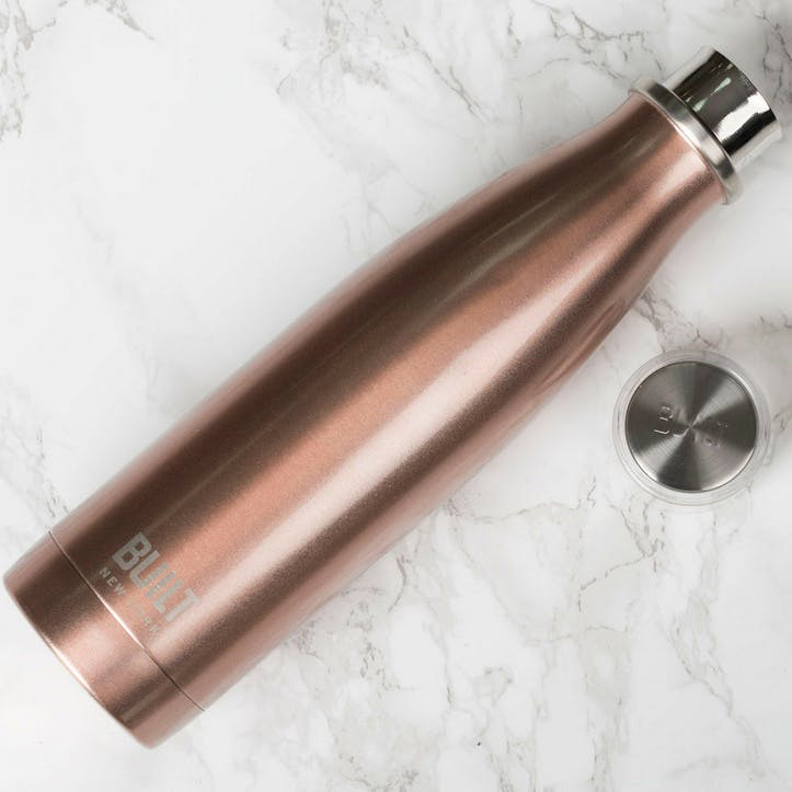 Double Walled Stainless Steel Water Bottle; Rose Gold