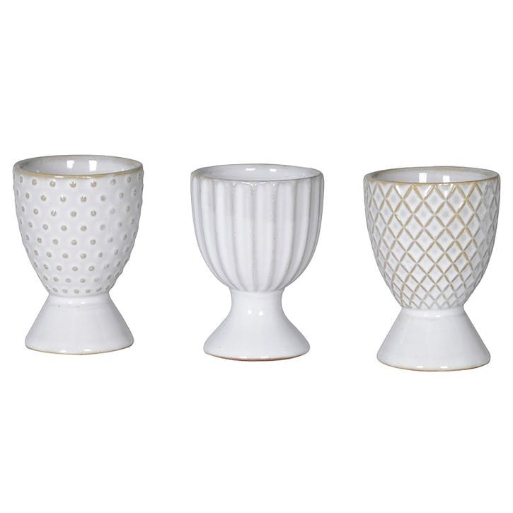 Mix & Match Ceramic Egg Cups, Set of 3, Grey