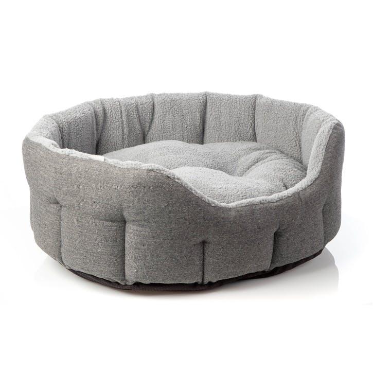 Herringbone Tweed Oval Pet Bed, XL, Grey