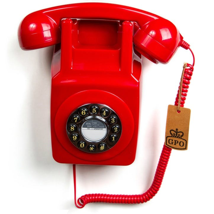 746 Wall Push Button Telephone; Red