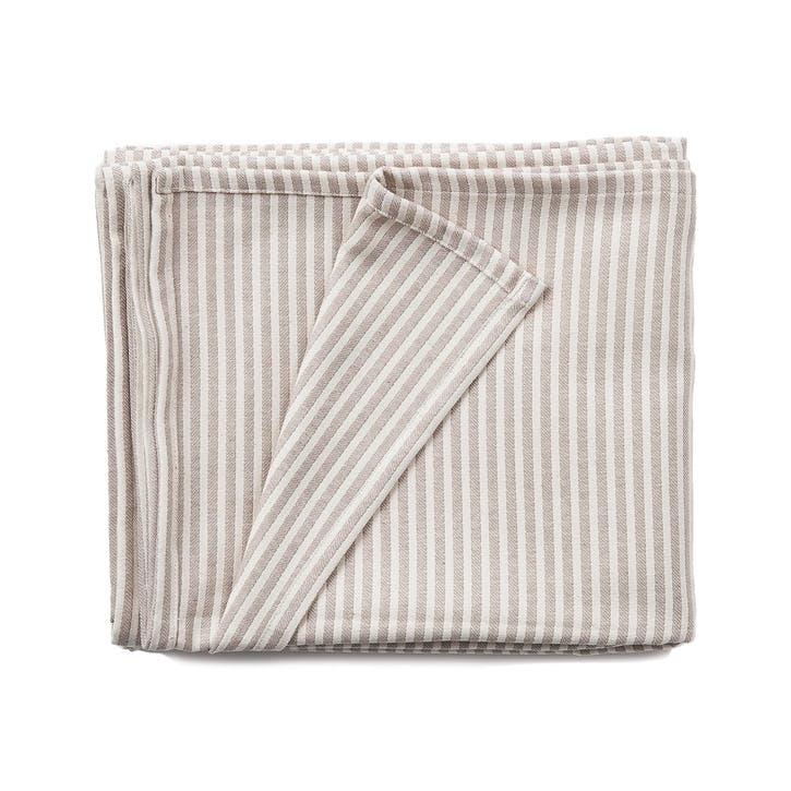 Harbour Stripe Cotton Tablecloth, Fawn & Ecru